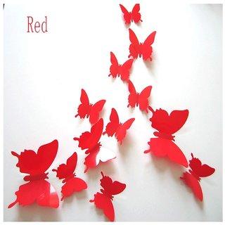 Red 3D Butterflies' Wall Sticker 1 Combo of 12 Piece (PVC Vinyl, 13 cm x 15 cm , 3D Stickers )