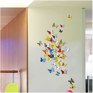 Multicolor 3D Butterflies' Wall Sticker 1 Combo of 19 Piece (PVC Vinyl, 21 cm x 29.7 cm , 3D Stickers )
