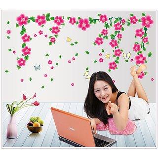 Pink Flower Nature Wall Sticker ' Wall Sticker (PVC Vinyl, 70 cm X 50 cm, Decorative Stickers)