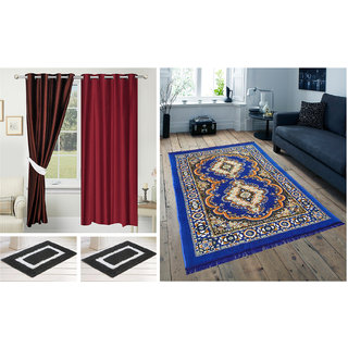 Azaani beautiful polyester solid set of two door curtains with one jute carpets & two cotton bathmat,