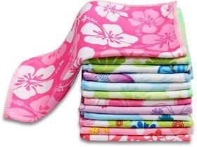 Angel homes Cotton Velvet soft printed face towel set Of 10 pcs combo pack (25x25)cm
