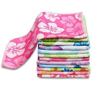 Rohilla  Cotton Velvet soft printed face towel set Of 10 pcs combo pack (25x25)cm