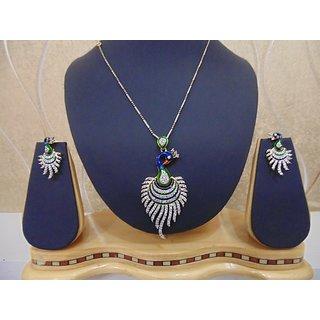 Peacock Shaped American Diamond Cz Jewellery