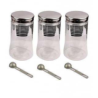 OSHOP TRADES SILVER LINING 3 PC CONTAINER SET WITH SPOON- 1500 ML