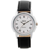 Zion Analog Black Leather Watch (Zw-367) - Men