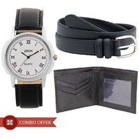 Zion Round Dial Black Leather Strap Mens Combo Of WatchBelt And Wallet