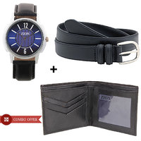 Zion Analog Men's Watch Zw-371 With Belt  Wallet