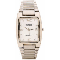 Zion Rectangle Dial Silver Metal Strap Mens Quartz Watch