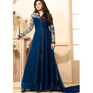 fab4fashion Blue Georgette Semi- Stitched Anarkali Dress