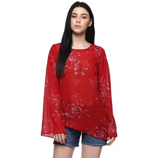 Abiti Bella Red Printed bell sleeves top