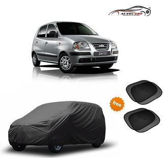 De AutoCare Premium Grey Matty Car Body Cover For Hyundai Santro Xing With Sunshades