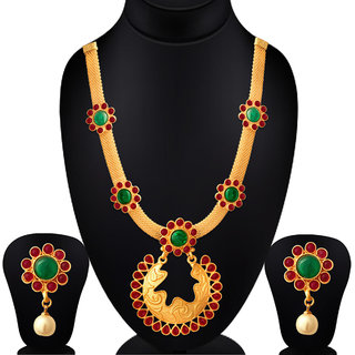 6b6b36952e5b9 Spargz Traditional Look Gold Plated Kemp Stone with Pearl Matte Finish  Necklace Set With Earrings Wedding Party For Wome