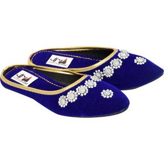 Jaipuri embellished Blue mojaries
