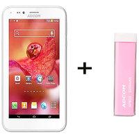 Combo Of Adcom A680 - White + APB 2200mAh Powerbank- Pink