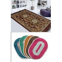 K Decor Multicolor Polyester Bath Mat In Combo of  1 Carpet  3 Doormats (dc-006)