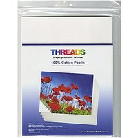 THREADS Inkjet Printable Poplin Fabric Sheets, 8.5
