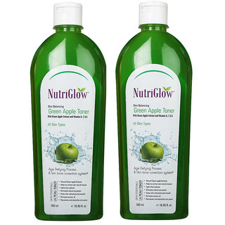 Nutriglow Skin Balancing Green Apple Toner With Vitamin A,C  E Skin Tonic 500 ml Pack of 2