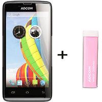 Combo Of Adcom A50 - Black + APB 2200mAh Powerbank- Pink