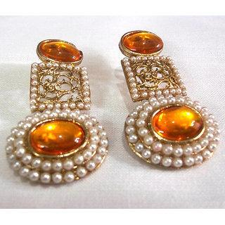 Circle pearl Orange Polki Earrings