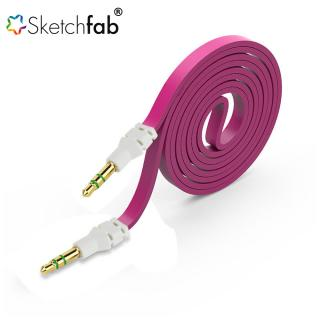 Sketchfab Flat Aux Stereo 3.5mm Music Transfer Cable for Mobiles and Speakers (Color May Vary)