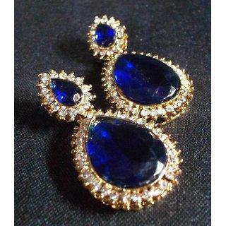 Pearl Stone Drop Dark Blue Earring