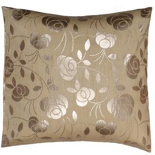 Elevate Raw Silk Beige Foil Printed Cushion Cover (1 Pcs)