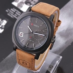 Curren Round Dail Khaki Leather StrapMens Quartz Watch For Men