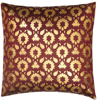 Elevate Raw Silk Maroon-Golden Foil Printed Cushion Cover (1Pcs)