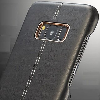 Leather Back Metal Bumper Frame Skin Case Cover for Samsung Galaxy S8 / S8+ Plus Black