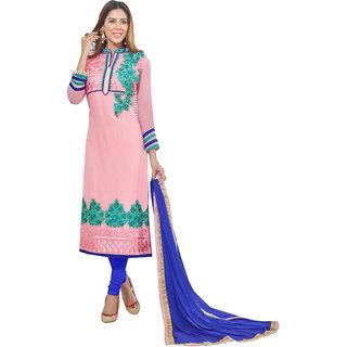 Glitters Light Pink Georgette Semi Stitched Dress Material