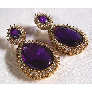 8b1c665101195 Pearl stone drop purple earring
