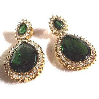 Pearl Stone Drop Dark Green Earring
