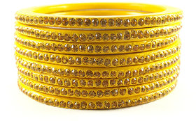 Sukriti Rajasthani Traditional Yellow Lac Bangles for Women - Set of 8