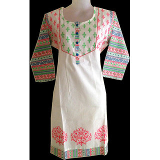 Cotton kurti with printings on upper part and on sleeves
