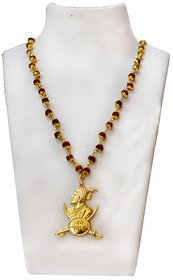Men Style Chhatrapati Shivaji Maharaj Locket With Jay Bhavani Dhaal Brown and Gold Alloy and Wood  Pendant For Men and Boys
