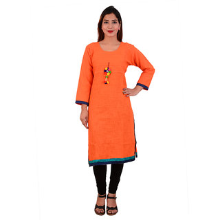 1style women jaipuri latkan orange cotton linen casual kurti