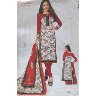 100 Percent Pure Cotton Designer Suit With Pure Cotton Printed Dupatta (Unstitched)