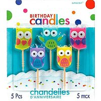 Party Time Molded Owls Birthday Toothpick Candles, Pack