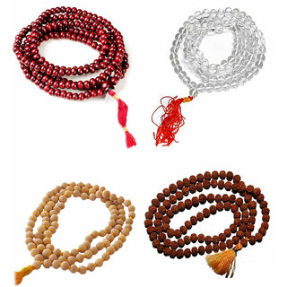 SAHAYA Set of 4 Pooja Jaapa Mala Rudraksha Chandan Lal Red Color Chandan Scented Sphatik crystal Malas