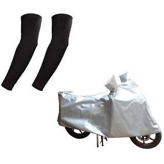 HMS Two wheeler cover Dustproof for Bajaj Discover 150F+ Free Arm Sleeves - Colour Silver