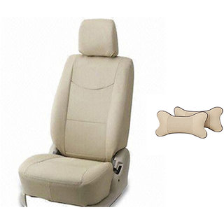 Autodecor Hyundai Grand I10 Beige Leatherite Car Seat Cover with Neck Rest  Free