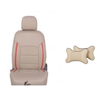 Autodecor Renault Duster Beige  Leatherite Car Seat Cover with Neck Rest  Free