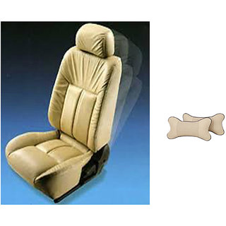 AutodecorToyota Etios Beige Leatherite Car Seat Cover with Neck Rest  Free