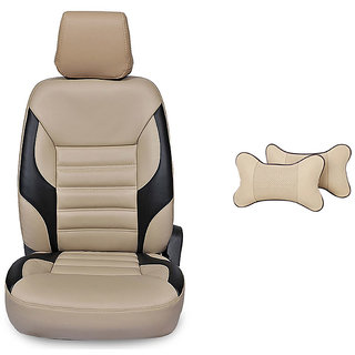 Autodecor Maruti Alto K10 Beige Leatherite Car Seat Cover with Neck Rest Free