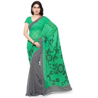 Vaamsi Green Georgette Printed Saree With Blouse