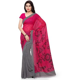 Vaamsi Pink Georgette Printed Saree With Blouse