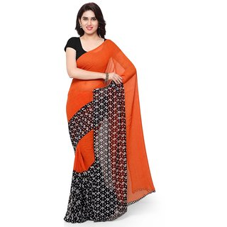 Vaamsi Orange Georgette Printed Saree With Blouse