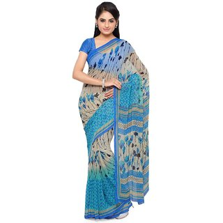 Vaamsi Blue Georgette Printed Saree With Blouse