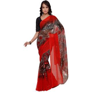 Vaamsi Red Chiffon Printed Saree With Blouse