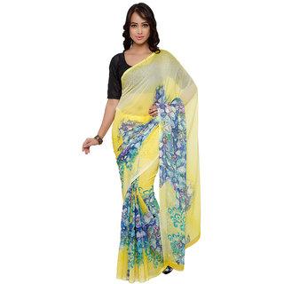 Vaamsi Yellow Chiffon Printed Saree With Blouse
